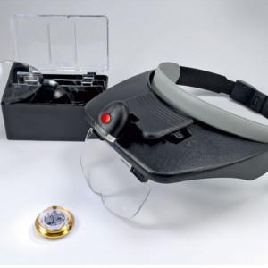 Binocular magnifier with light