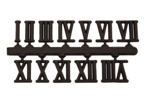 Number set 1-12, plastic, black, 10mm, Roman numerals, self-adhesive