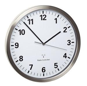 TFA radio-controlled wall clock, aluminium dia. 305mm with quiet sweep movement