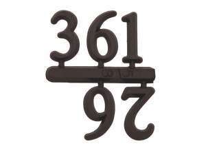 Number set 3-6-9-12, plastic 10mm, black, Arabic numerals