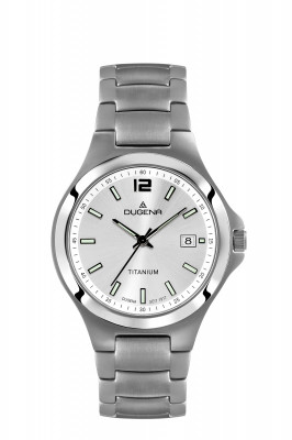 DUGENA men's watch Titanium Ø 39,5mm, silver dial