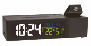 Radio controlled projection clock with room clima