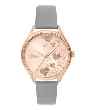 s.Oliver cuir bracelet gris SO-3600-LQ
