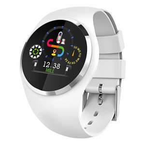 Fitness Tracker, white, with round Color-Display