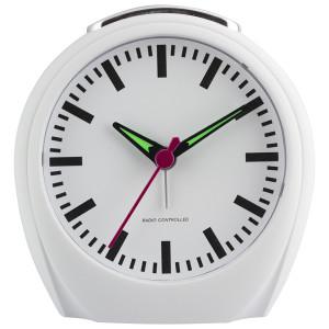 Radio controlled alarm clock, train station design
