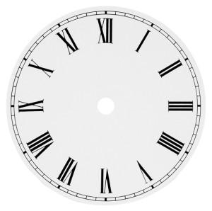 Dial Ø 127 white, roman numerals, aluminium 0.4 mm/ CH 10.2