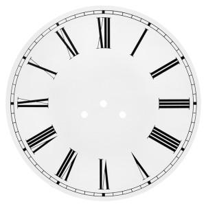 Dial Ø 290 mm white, 3 holes, roman numerals, aluminium 1.0 mm/ L 10 BF/FF/MF