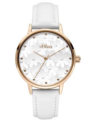 s.Oliver SO-3787-LQ leatherette strap white