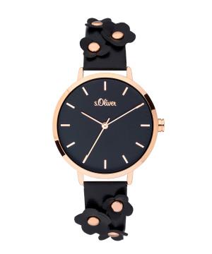 s.Oliver SO-3700-LQ similicuir bracelet noir