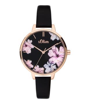 s.Oliver SO-3779-LQ leatherette strap black