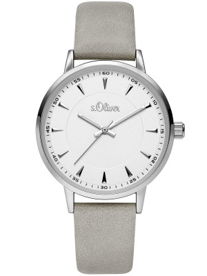 s.Oliver SO-3729-LQ simili cuir bracelet gris 16mm