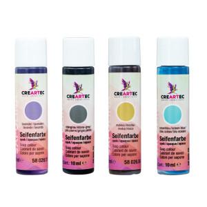 Seifenfarben opak - 4er-Set - Steingrau, mocca, lavendel, ozeanblau