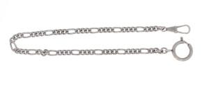Pocket watch chain Figaro flat, brass antique silver
