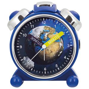 Réveil d'apprendre l'heure pour enfants, Terre et Lune, boîtier bleu