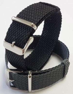 Nato Bracelet en Perlon noir 18mm
