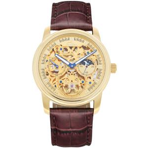 SELVA Montre-bracelet d'homme »Santos« - Soleil/lune - squeletté - doré
