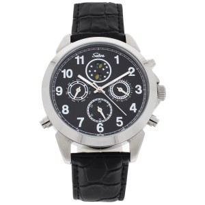 SELVA Men's Watch »Santos« - sun/moon - black dial