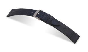 Lederband Charleston 12mm marineblau mit Alligatorprägung