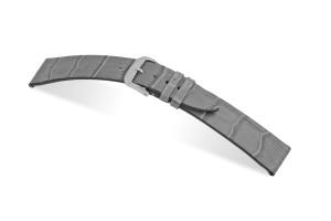 Lederband Charleston 12mm steingrau mit Alligatorprägung