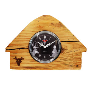 Altholz-Uhr Schwarzwaldhäusle, Zifferblatt schwarz