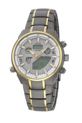 Eco Tech Time Solar Drive Funk Aquanaut II Titan Herrenuhr World Timer - EGT-11336-40M