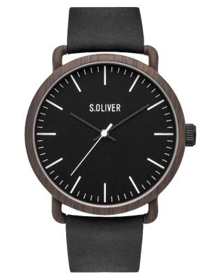 s.Oliver SO-3752-LQ en cuir véritable noir 20mm