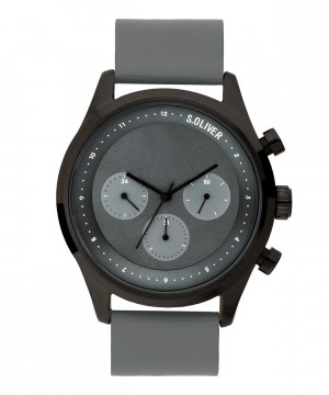 s.Oliver SO-3723-LM en cuir véritable gris 22mm