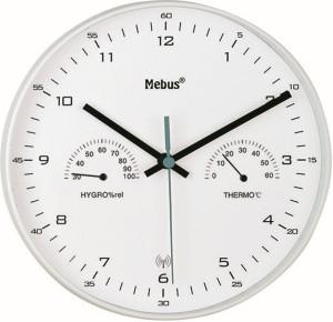 Horloge murale radio pilotée avec thermomètre/ hygromètre, weiß