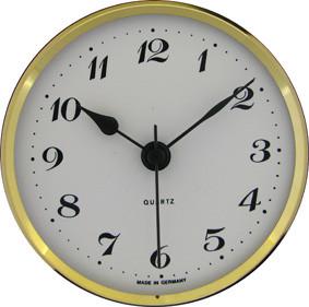 Einsteckwerk UTS Trommel Ø 57mm, Lünette Ø 72mm gelb, Zifferblatt weiß-antik, arabische Zahlen