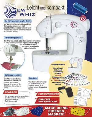 Sew Whiz® sewing machine including power adapter