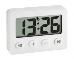 Digital alarm clock with timer and stop watch, white