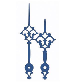 Zeigerpaar (Antik, blau, matt); Minutenzeiger-L: 70 mm, Std.-Z.-Ø: 4,5 mm, Min.-Z.-Ø: 2x2