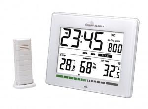 Luftgüte-Monitor mit Quarzuhr