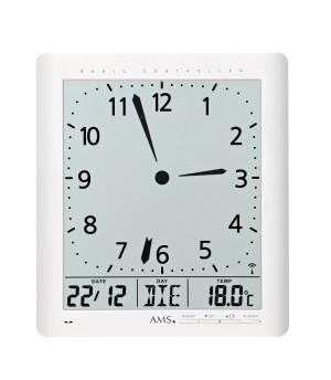 AMS Funk-Wand/ Tischuhr analog/ digtial, weiß