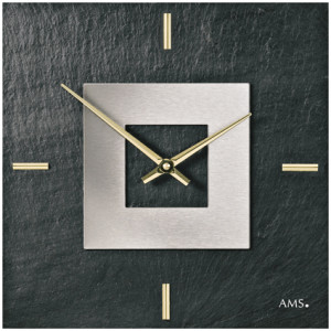 AMS Quarz-Wanduhr Naturschiefer