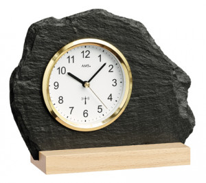 AMS radio-controlled table clock natural slate, yellow aluminum front ring