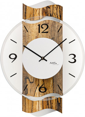 AMS quartz wall clock wood