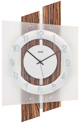 AMS radio-controlled wall clock wood