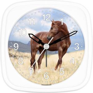 Children's alarm clock horse - brown horse on meadow