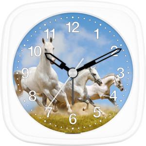 Children's alarm clock horse - three white wild hoses