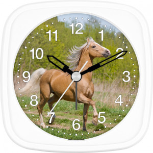 Children's alarm clock horse - brown horse in the forest