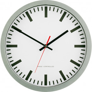 Radio-controlled wall clock station style, silver