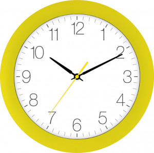 Radio-controlled wall clock yellow