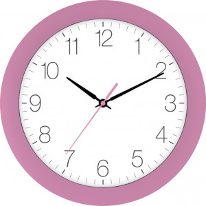 Radio-controlled wall clock pink