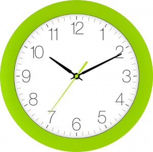 Radio-controlled wall clock light green