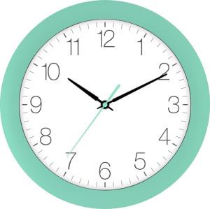 Radio-controlled wall clock turquoise green