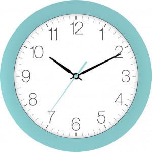 Radio-controlled wall clock turquoise blue