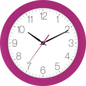 Radio-controlled wall clock dark pink