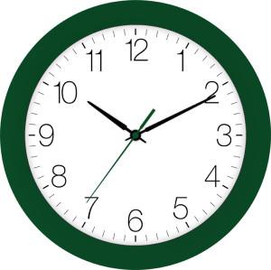 Radio-controlled wall clock dark green
