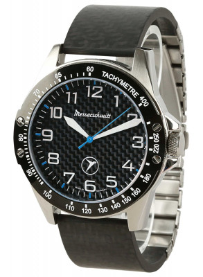 MESSERSCHMITT carbon sports watch with blue second